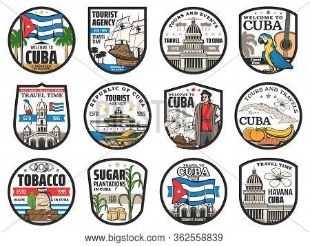 Cuba Travel, Havana Landmarks And City Tours Vector Icons. Welcome To Cuba, History And Culture Tour