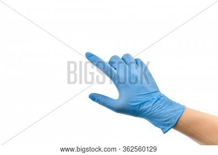 Female hand wearing protective gloves touching virtual screen isolated on white background.