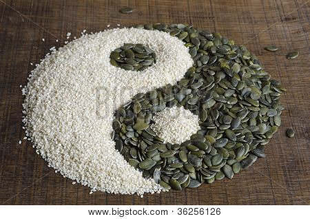 Yin Yang created out of pumpkin seeds