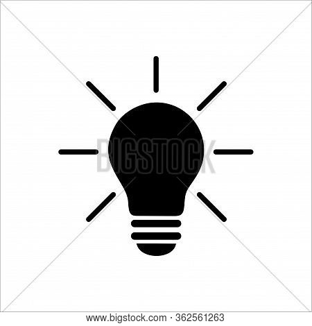 Light Bulb Icon. Black Light Bulb Vector Icon. Idea Icon. Lamp Concept. Light Bulb, Isolated On Whit