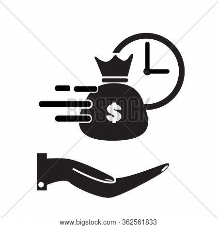 Quick And Easy Loan Icon On White Background. Flat Style. Fast Money Providence Icon For Your Web Si