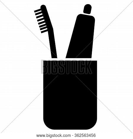 Toothbrushes Icon On White Background. Flat Style. Toothbrush Holder Icon For Your Web Site Design,