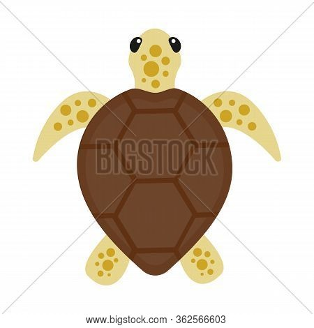 Sea Turtle Isolated On A White Background. Symbol Of Wild Life Of Endangered Animal Species. Vector