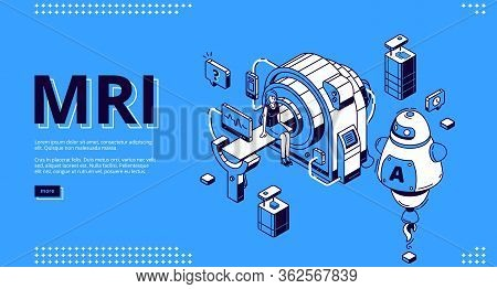 Mri Scanner With Patient And Ai Doctor Isometric Landing Page. Woman In Room For Magnetic Resonance