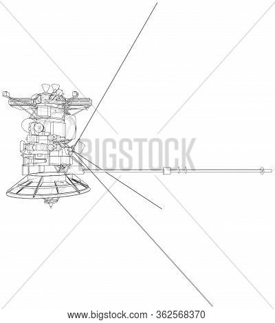 Communication Satellite Concept Outline. Vector Rendering Of 3d. Wire-frame Style. The Layers Of Vis