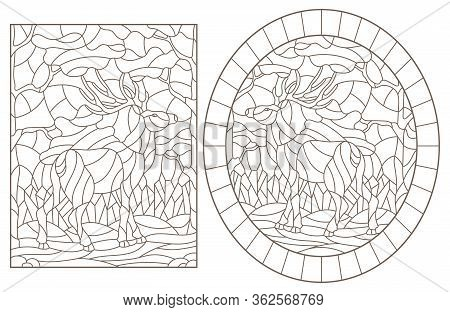 Set Of Contour Illustrations Of Stained Glass With Deers On Forest Landscape Background, Dark Outlin