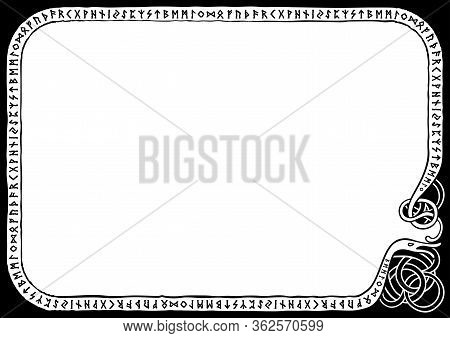 Illustration A Frame With The Scandinavian Futhark In Nordic Style