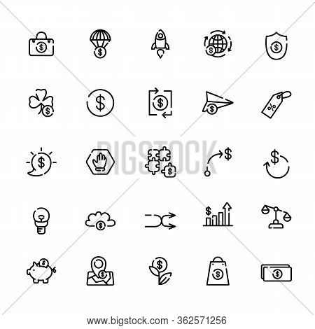 Business And Finance Outline Icon Set - Money Symbols Isolated On White Background - Dollars, Piggy