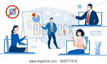 Remote Work, Business Meeting Online, Partner Conference, Educational Training Webinar. Woman Boss C