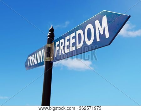 Two-directional metal signpost indicating Freedom and Tyranny directions over blue sky