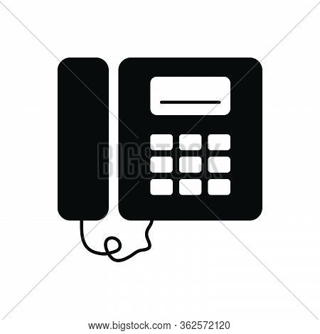 Black Solid Icon For Pbx Flat Phone Voip
