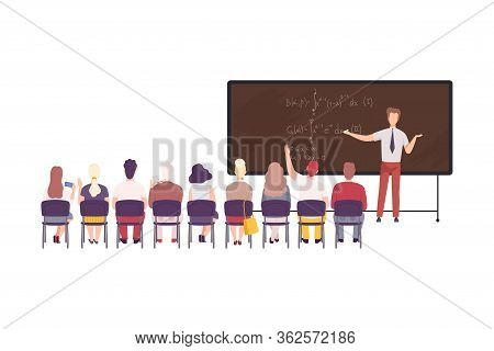 Male Math Professor Teaching Students In Classroom, University, College, High School Lesson Flat Vec