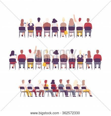 University Or College Students Sitting On Chairs In Class, Back View Of Young People Studying Togeth