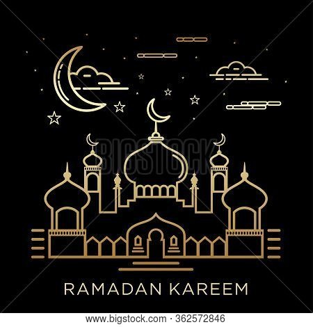 Creative Illustration Of A Mosque In Line Style. Ramadan Kareem Background. Ramadan Kareem Celebrati