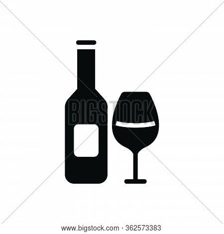 Black Solid Icon For Beverage Wine Bottle Glass Alcohol  Liqueur