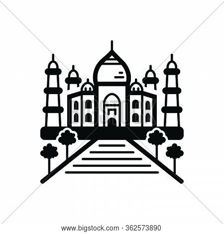 Black Solid Icon For Taj Mahal India Landmark Taj-mahal
