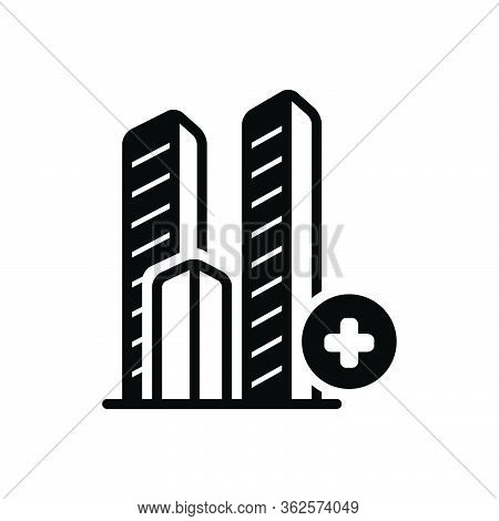 Black Solid Icon For Bulding Add Landmark Hospitality Hotel