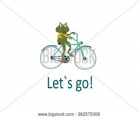 Basic Happy Frog Riding Bike. Pleasure Trip