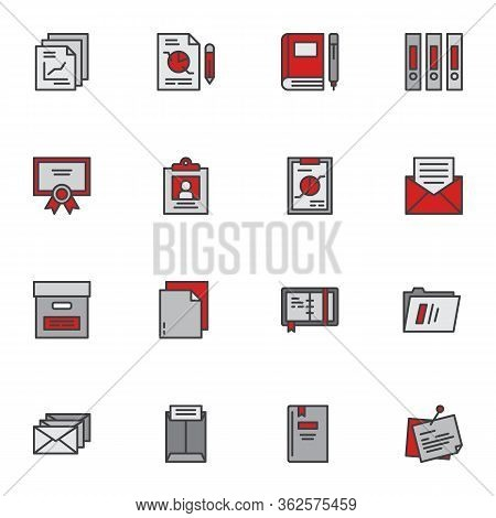 Office Documents Filled Outline Icons Set, Line Vector Symbol Collection, Linear Colorful Pictogram