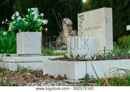 Small Children Gravestone. Focus On The Granite Vase In Front, Actual Tombstone With Inscription Out