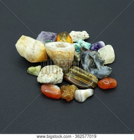 Precious And Semiprecious Stones And Minerals For Stone Therapy And Exotic Facial Massage With Chill