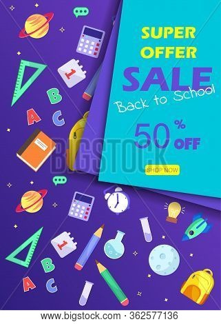 Back to school sale banner. Back to school banner set. Colorful back to school templates for invitation, poster, banner, promotion,sale etc. School supplies cartoon illustration. Vector back to school design templates.