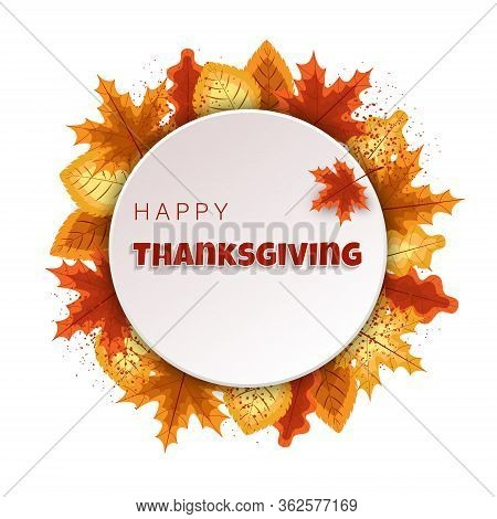 Happy Thanksgiving Day Typographic Animated Design template. Thanksgiving Day Background full of branches and hanging maple Leaves. Happy Thanksgiving banner.