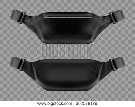 Waist Bag, Belt Pouch Mockup. Modern Black Fanny Pack With Zipper Pocket Front And Back View Isolate