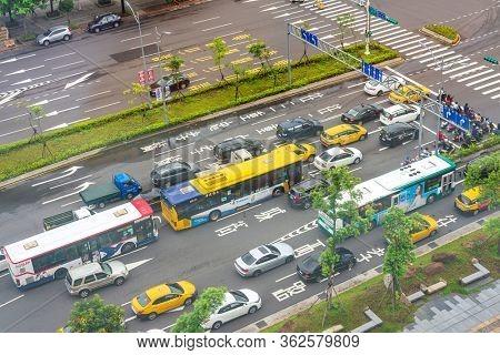 TAIPEI, TAIWAN - July 2, 2019: Urban traffic street view in Taipei, Taiwan
