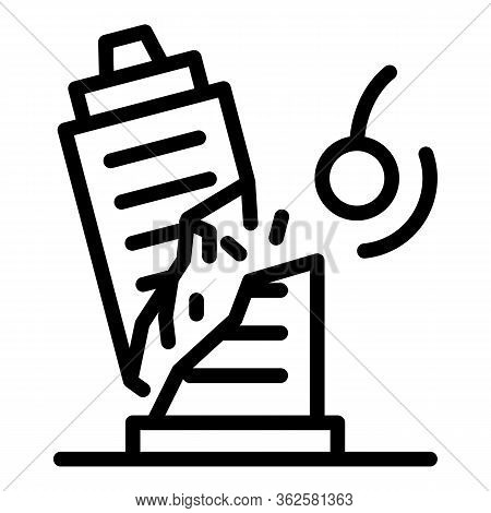 Demolition Work Icon. Outline Demolition Work Vector Icon For Web Design Isolated On White Backgroun