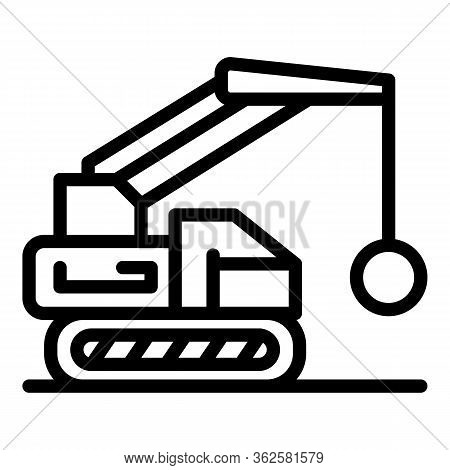 Excavator Wrecking Ball Icon. Outline Excavator Wrecking Ball Vector Icon For Web Design Isolated On