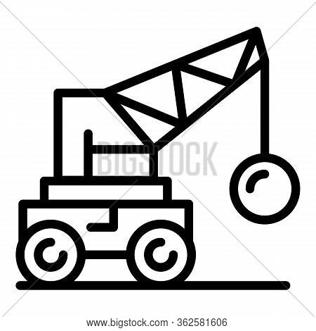 Crane Wrecking Ball Icon. Outline Crane Wrecking Ball Vector Icon For Web Design Isolated On White B