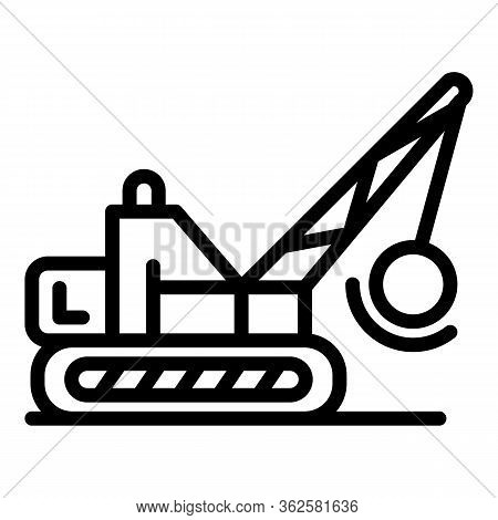 Wrecker Excavator Icon. Outline Wrecker Excavator Vector Icon For Web Design Isolated On White Backg