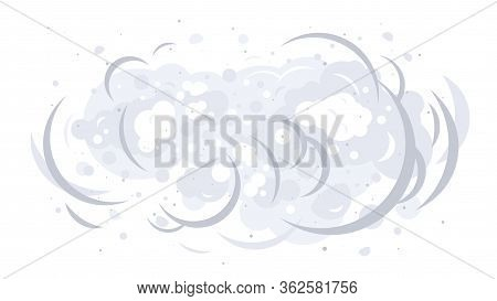 Dust Clouds On Air Isolated Illustration, Dirty Air With Small Particles Of Dust, Gray Dust Storm Ca