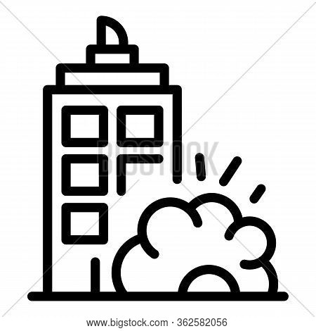 City Demolition Icon. Outline City Demolition Vector Icon For Web Design Isolated On White Backgroun