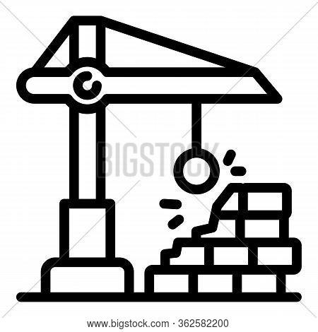 Destruction Crane Icon. Outline Destruction Crane Vector Icon For Web Design Isolated On White Backg