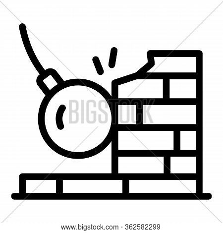 Wrecking Ball On Wall Icon. Outline Wrecking Ball On Wall Vector Icon For Web Design Isolated On Whi