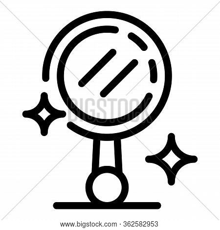 Stylist Hand Mirror Icon. Outline Stylist Hand Mirror Vector Icon For Web Design Isolated On White B