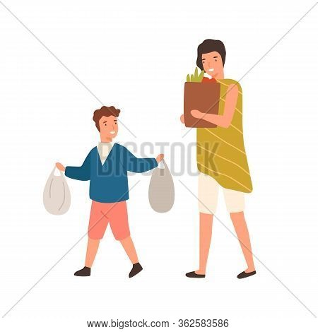 Cartoon Well Mannered Boy Help Mother Carry Package With Purchase Vector Flat Illustration. Happy Po