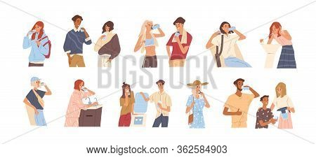 Different People Drinking Water From A Glass, Bottle, Fountain, Cooler, Tap, Filter. Man And Woman Q