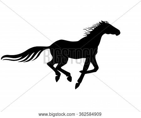 Horse. Vector Black Silhouette Of A Galloping Horse - Sign For A Pictogram Or Logo. Fast Running Hor