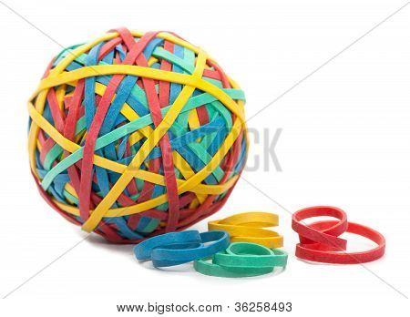 Rubber Bands and a Rubber Band Ball Isolated on a White Background