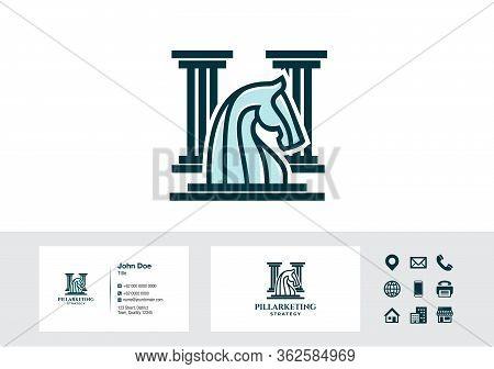 Horse Knight Chess Pillar Strategy Logo - Business Card Design Vector