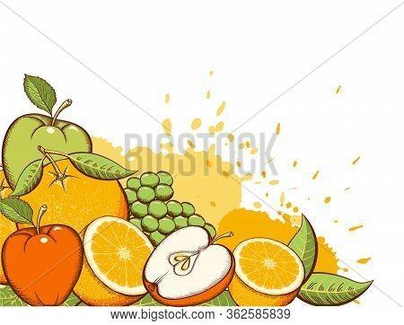 Fruits Background. Fruits Vector Color Illustration. Apples, Grapes, Orange Juice