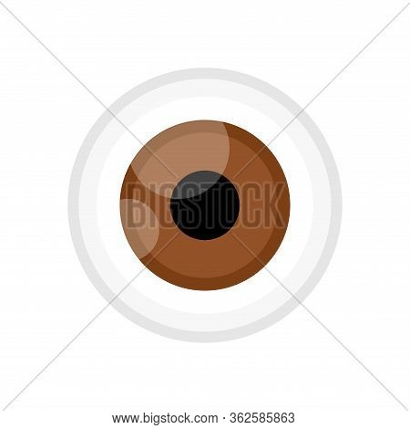 Eyeball Brown Color Isolated On White, Eye Graphic Brown For Icon, Eyeball Illustration For Clip Art