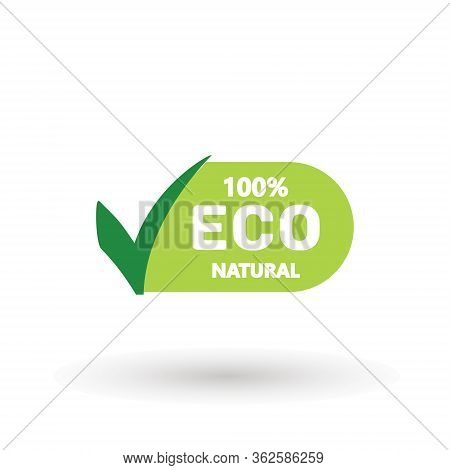 Eco 100 Natural Stamp Illustration. Premium Quality, Locally Grown, Healthy Food Natural Products, F