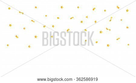 Golden Foil Confetti Floating On White Background And Copy Space, Confetti Ribbon Gold Flying For De