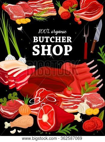 Butchery Shop Meat Food, Vector Poster, Farm Gourmet Delicatessen Products. Butcher Store Pork Bacon