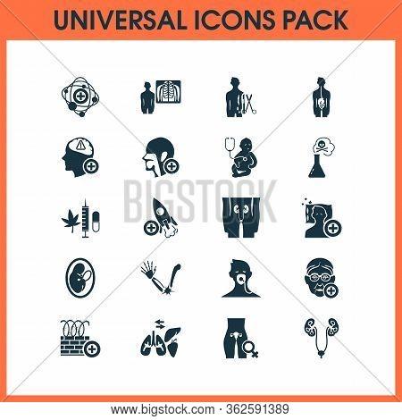 Anatomy Icons Set With Otorhinolaryngology, Radiology, Urology And Other Child Elements. Isolated Ve