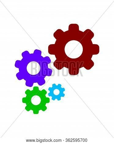 Circle Cog Gear Colorful For Mechanization Icon Isolated On White, Gear Symbol For Button Icon For P